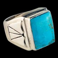 Navajo Sterling and Turquoise Men's Ring Size 12 1/4