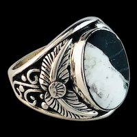 Navajo Sterling and White Buffalo Mens Ring