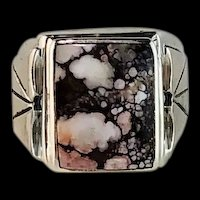 Navajo Sterling and Wild Horse Magnesite Mens Ring
