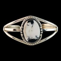Sterling and White Buffalo Bracelet by Navajo Artist Anthony Kee