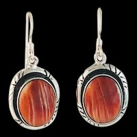 Sterling and Spiny Oyster Earrings by Navajo Terri Wood