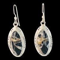 Navajo Sterling and White Buffalo Earrings by Melissa Yazzie
