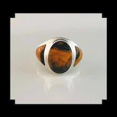 Sleek Native American Bumble Bee Jasper Ring