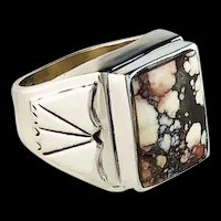 Navajo Sterling and Wild Horse Magnesite Ring by Alfred Joe