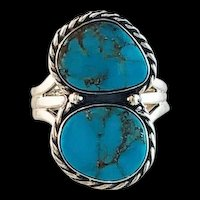 Navajo  Double Stone Turquoise Ring
