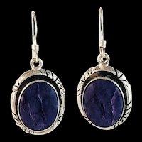 Sterling and Charoite Earrings by Terri Wood