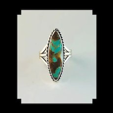 Navajo Sterling and Turquoise Ring by Navajo Artist Terry Wood