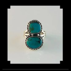 Navajo Sterling and Double Stone Turquoise Ring