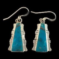 Sterling and Turquoise Native American Made Earrings