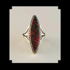 Sterling and Red Opalite Ring by Navajo Melissa Yazzie