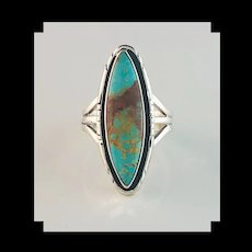 Sterling and Pilot Mountain Turquoise Ring  By Navajo Artist Alfred Joe