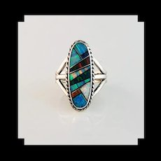 Sterling and Opalite Inlay Ring by Terri Wood