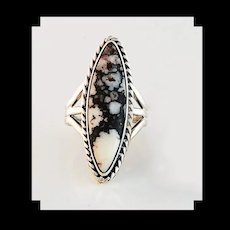 Navajo Sterling and Wild Horse Magnesite Ring by Terri Wood