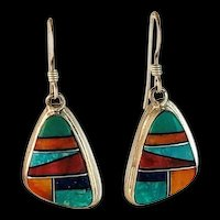 Navajo Sterling and Multi Stone Inlay Earrings