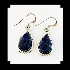 Petite Sterling and Lapis Lazuli Earrings by Melissa Yazzie