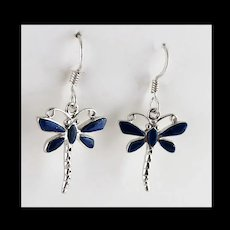 Sterling and Lapis Dragonfly Earrings