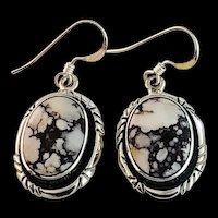 Sterling and Wild Horse Magnesite Earrings by Navajo Terri Wood