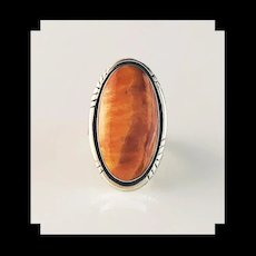 Sterling and Spiny Oyster Ring by Navajo Artist Arnold Maloney