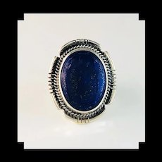 Navajo Sterling and Lapis Lazuli Ring by Anthony Kee