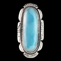 Navajo Sterling and Larimar Ring by Anthony Kee
