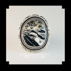 Navajo Sterling and White Buffalo Ring by Antony  Kee