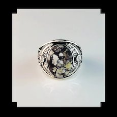 Navajo Sterling and Wild Horse Magnesite Men's Ring