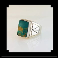 Navajo Sterling and Turquoise Mens Ring by Terri Wood