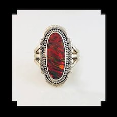 Navajo Sterling and Red Opalite Ring