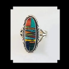 Navajo Sterling and Multi Stone Ring by Alfred Joe