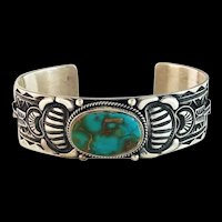 Navajo Sterling and Royston Turquoise Bracelet by T. O. White