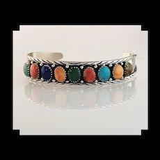 Sterling and Mulit Stone Bracelet by Navajo Melissa Yazzie