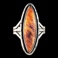 Sterling and Spiny Oyster Ring by Navajo Artist Terri Wood