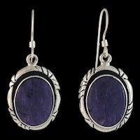 Rare Charoite Earrings by Navajo Artist Terri Wood