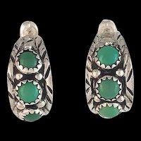 Navajo Sterling and Green Turquoise Half Hoop Earrings