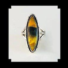 Sterling and Bumblebee Jasper Ring  by Navajo Artist Terri Wood
