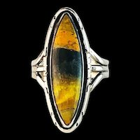 Sterling and Bumblebee Jasper Ring  by Navajo Artist Terri Wood