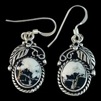Sterling and White Buffalo Earrings by Terri Wood