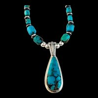 White Fox Creation: Navajo Turquoise Pendant with Turquoise and Sterling Chain