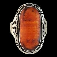 Navajo Sterling and Burnt Orange Spiny Oyster Ring