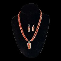 White Fox Creation: Inlay Spiny Oyster Necklace and Earring Set