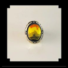 Navajo Sterling and Bumblebee Jasper Double Stack Ring