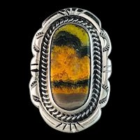 Navajo Sterling and Bumblebee Jasper Ring by Anthony Kee