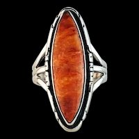 Navajo Sterling and Spiny Oyster Ring by Terri Wood