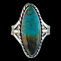 Sterling and Pilot Mountain Turquoise Ring by Melissa Yazzie