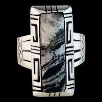Navajo Sterling and White Buffalo Ring  Alfred Joe