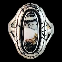 Sterling and White Buffalo Ring by Navajo Artist  Alfred Joe