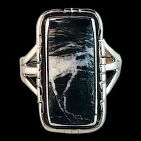 Men's Sterling and White Buffalo Ring by Arnold Maloney