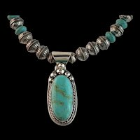 White Fox Creation: Sterling and Turquoise Necklace