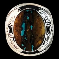 Navajo Sterling and Boulder Turquoise Ring