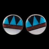 Small Zuni Inlay Post Earrings
